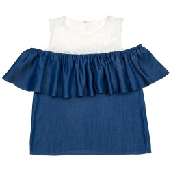 Girls Blue Chambray & Lace Off The Shoulder Top