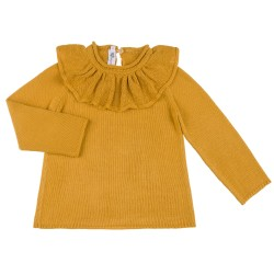Girls Mustard Sweater & Ruffle Collar