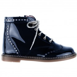 Girls Navy Blue Patent Leather Boots