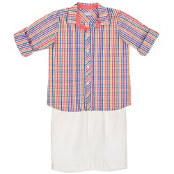 Boys Colourful Checked Shirt & White Shorts Set