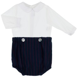 Baby Boys White Blouse & Navy Blue 2 Piece Shorts Set