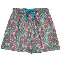 Boys Green Coral Print Swim Shorts