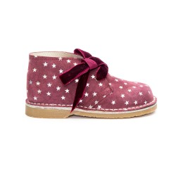 Girls Burgundy Suede & Sparkly Star Print with Velvet Bows