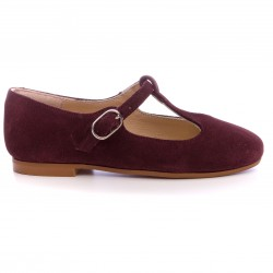 Girls Dark Burgundy Suede Leather Mary Janes
