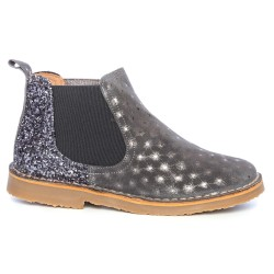 Girls Grey Suede & Glitter Boots with Silver Sparkly Polka Dot