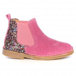 Girls Pink Suede & Glitter Boots
