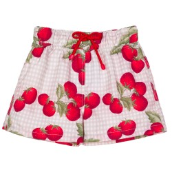 Boys Red Strawberry Print Swimsuit