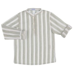 Boys Light Green & White Striped Shirt