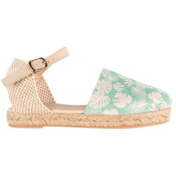 Girls Mint & Beige Floral Print Espadrille Sandals