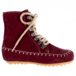 Girls Burgundy Leather Boots