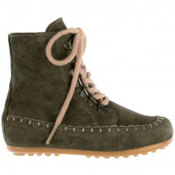 Girls Khaki Green Leather Boots