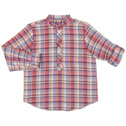 Boys Burgundy & Blue Checked Cotton Shirt