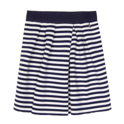 Navy Blue & White Neoprene Jersey Skirt