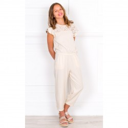 Girls Beige Jumpsuit with Lace