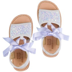 Girls White Glitter & Leather Sandals with Satin Bow