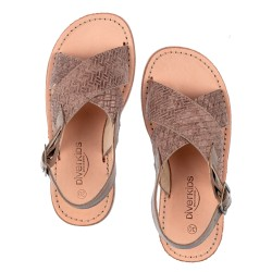 Girls Taupe Leather Braided Sandals