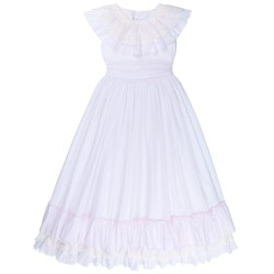 Girls White & Pink Plumeti Communion Dress whith Ruffles