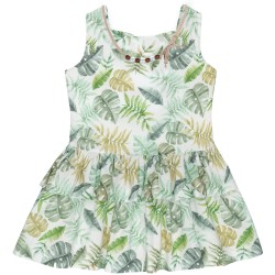 Girls Green Tropical Print Dress with Necklace