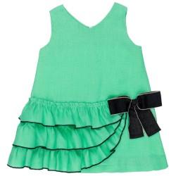 Girls Green Linen Ruffle Dress & Black Bow