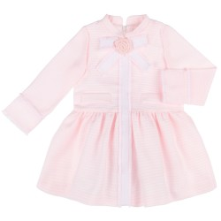 Girls Pale Pink Checked Dress & Lurex Bow