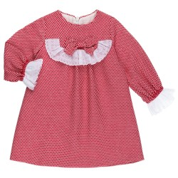 Baby Girls Red & White Polka Dot Dress & White Ruffles