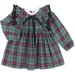 Baby Girls Green Checked Dress & White Collar Ruffle