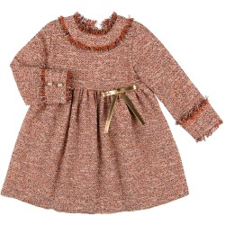 Girls Orange Tweed Dress & Golden Bow