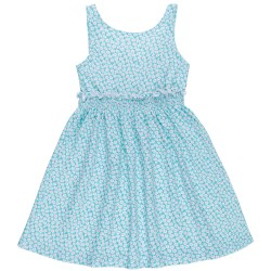 Girls Aqua Green Floral Print Dress & Coral Pink Tulle Bow