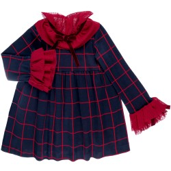 Alma Navy Blue & Red Checked Dress