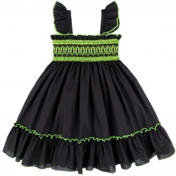 Girls Black Dress with Fluorescent Yellow Ruffles