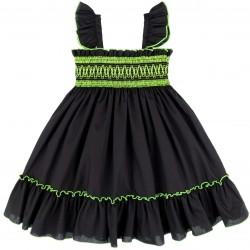 Girls Black Dress with Fluorescent Yellow Ruffles