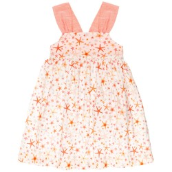 Girls Coral Pink Starfish Cotton Dress with Crossed Back