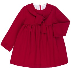 Girls Burgundy Dress with Bow Collar