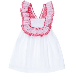 Girls White Broderie Cotton Dress & Red Gingham Ruffle