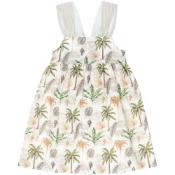 Girls Green & Beige Tropical Print Dress