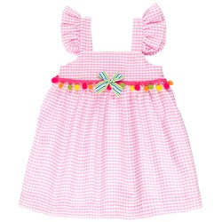 Girls Pink & White Gingham Dress with Colourful Pom-Pom Necklace