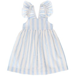 Girls Blue Cotton Striped Dress with Coral Bow