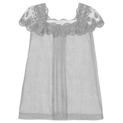 Girls Pearl Grey Muslin Dress with Lace Neckline