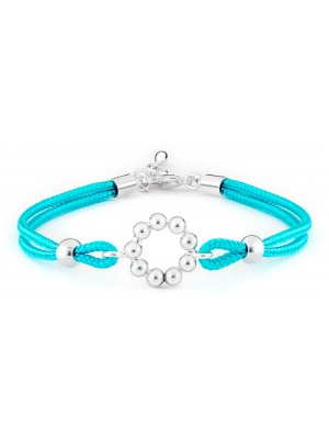 Missbaby Girls Green Silk Cord & Silver Plated Bracelet
