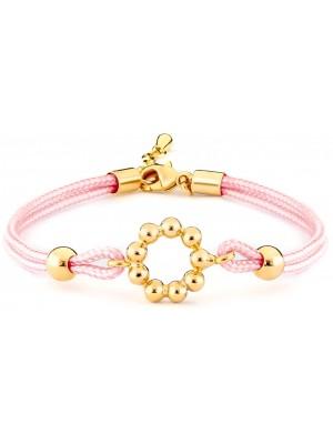 Missbaby Girls Pink Silk Cord & Gold Plated Bracelet