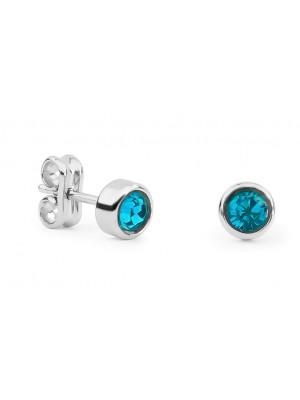 Missbaby Silver & Swarovski Blue Crystal Round Earrings