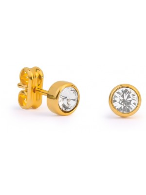 Missbaby Gold & Swarovski Crystal Round Earrings