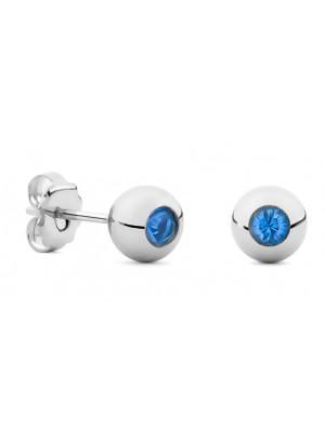 Missbaby Silver Sphere & Swarovski Crystal Round Earrings