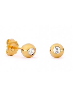 Missbaby Gold Sphere & Swarovski Crystal Earrings