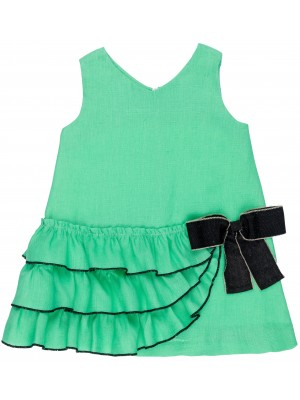 Girls Green Linen Ruffle Dress & Black Bow