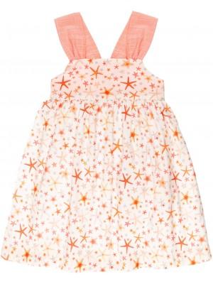 Vestido Niña Estrellas de Mar Coral & Espalda Cruzada