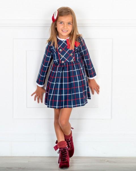 Outfit Niña Vestido Niña Cuadros Marino & Rojo & Botines Terciopelo Granate & Diadema