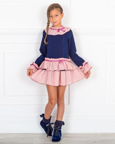 Outfit Niña Vestido Niña Punto Marino & Falda Volantes Rosa & Botines Terciopelo Azul Marino