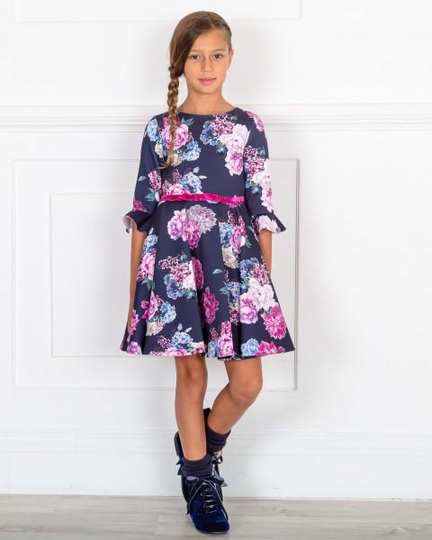 Outfit Niña Vestido Neopreno Estampado Floral Marino & Botines Terciopelo Azul Marino