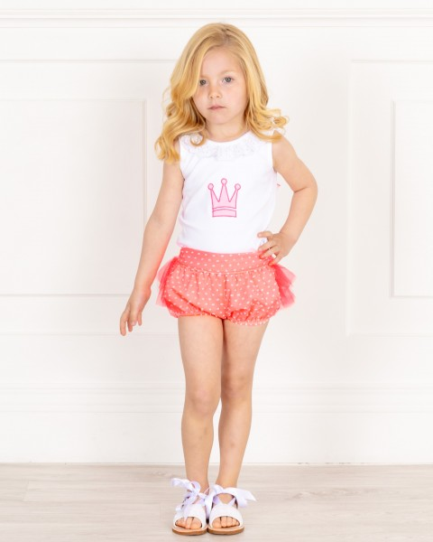 Girls White T-Shirt & Coral Fluor Shorts Set & White Glitter Sandals Outfit